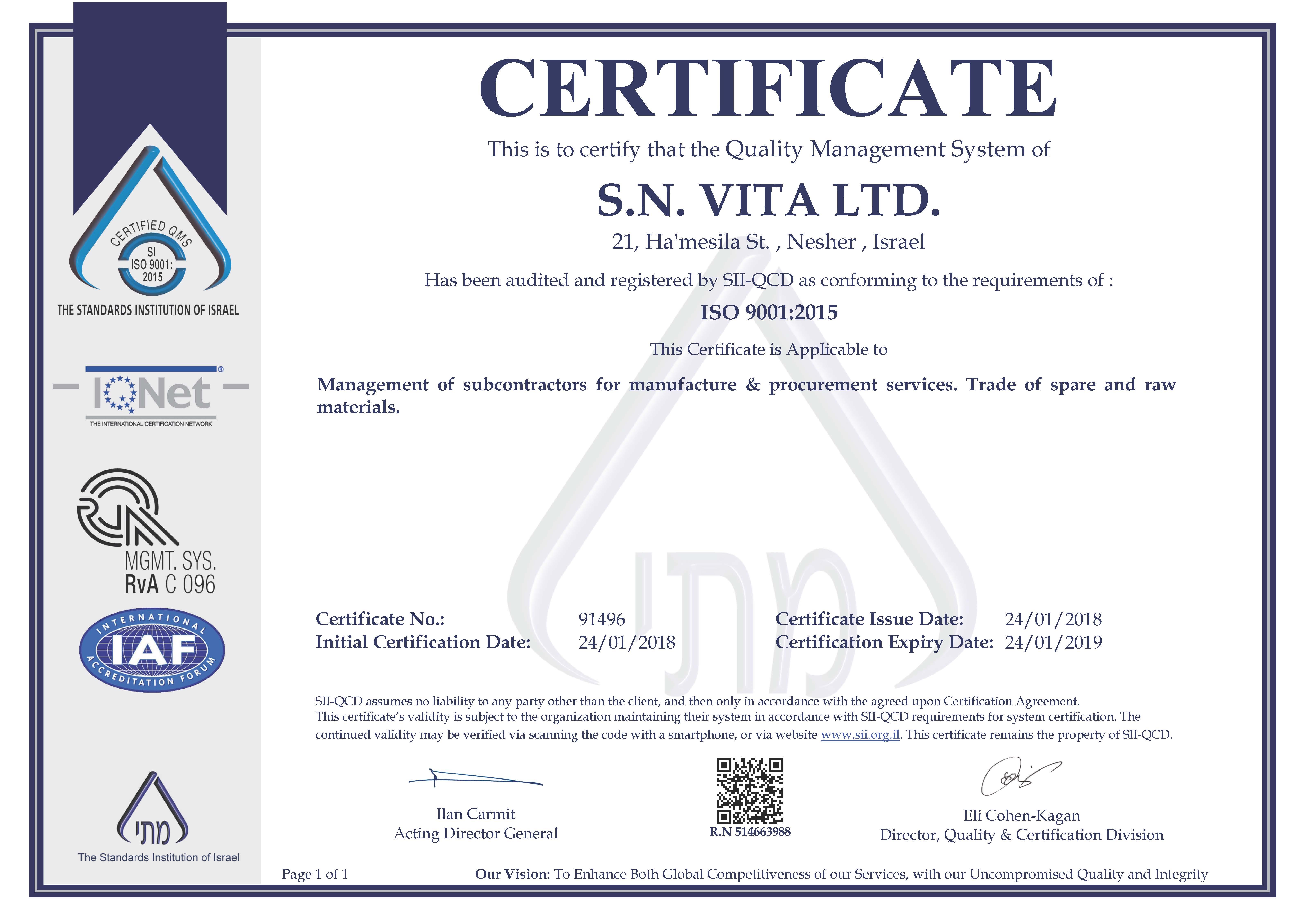 Certification Skynet Vita